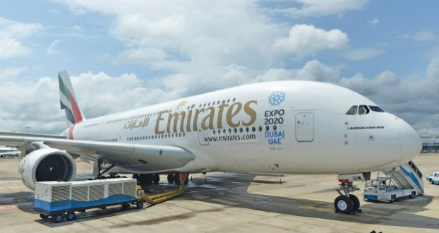 An Emirates Airbus A380 aircraft sits on the tarmac at the Bandaranaike International Airport in Katunayake on June 26, 2015, after making an emergency landing following the detection of smoke in the cockpit. All 471 passengers and 30-member crew disembarked safely 39 minutes after the aircraft declared a major emergency while enroute to Dubai from Sydney. AFP PHOTO/ Ishara S. KODIKARA